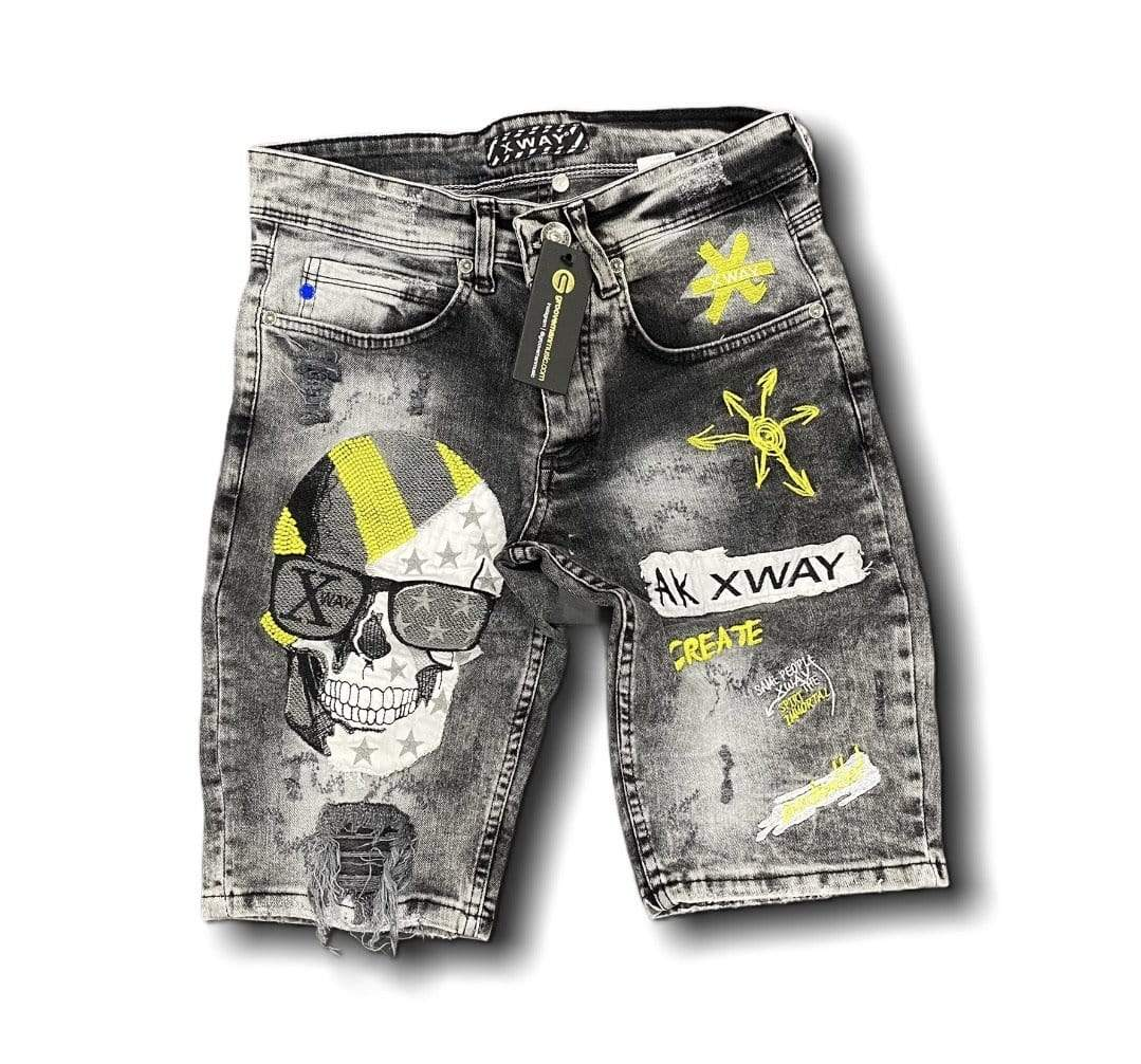 Grooveman Music Shorts Black Denim Skinny Short Faded Skull AK Xway