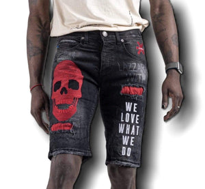 Grooveman Music Shorts Black Denim Skinny Short Skull We Love