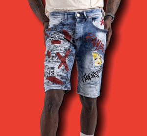 Grooveman Music Shorts Blue Denim Skinny Short Girl Cartoon Graffiti