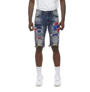 Grooveman Music Shorts Fashion Doole & Color Patch Denim Short