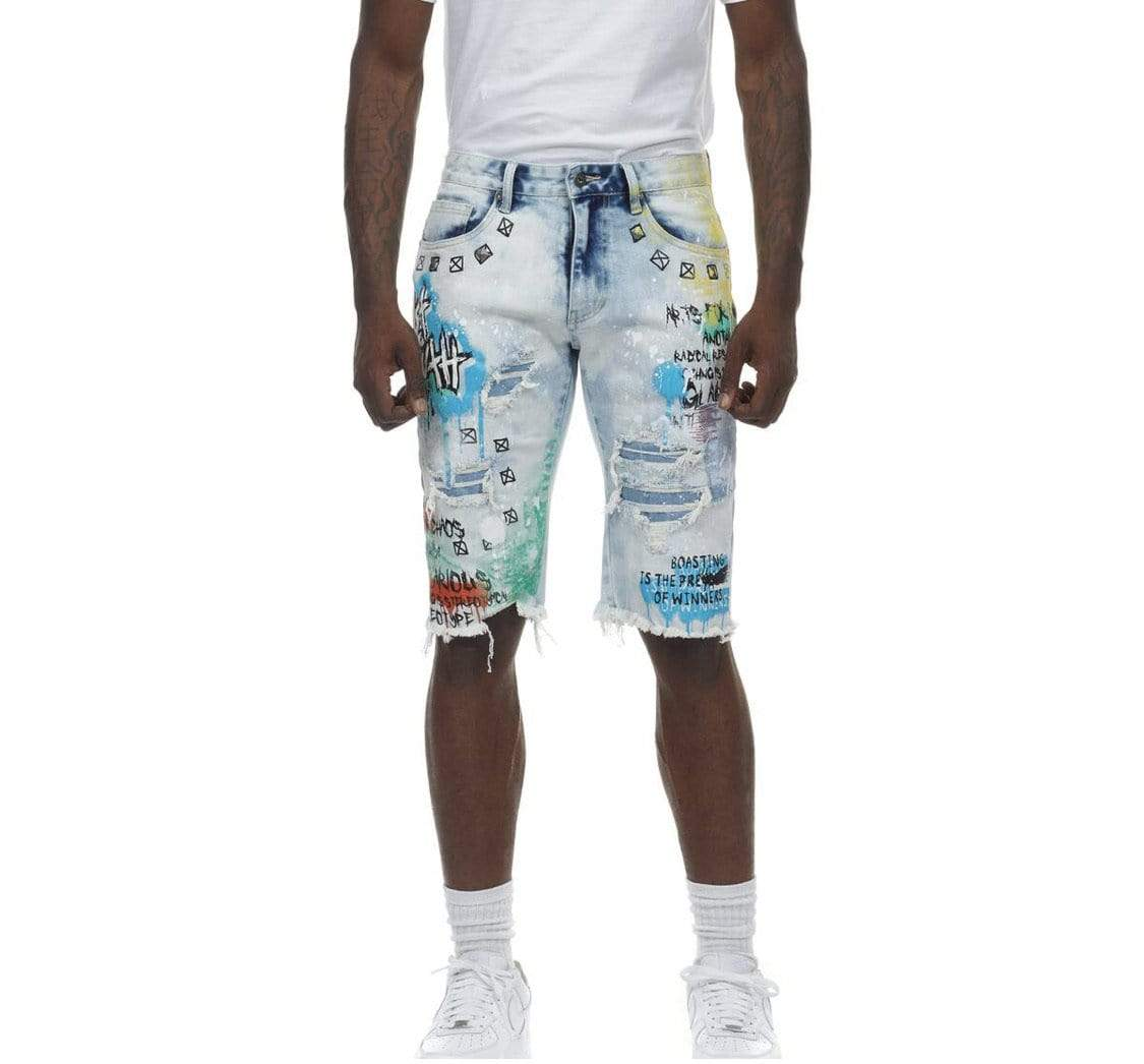 Grooveman Music Shorts Fashion Doole & Color Splatter Denim Short