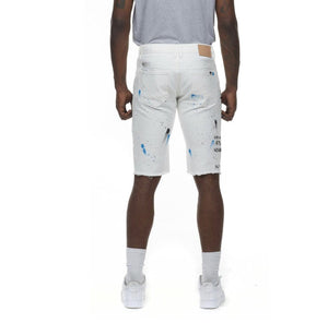 Grooveman Music Shorts Fashion Doole & Color Splatter Denim Short White