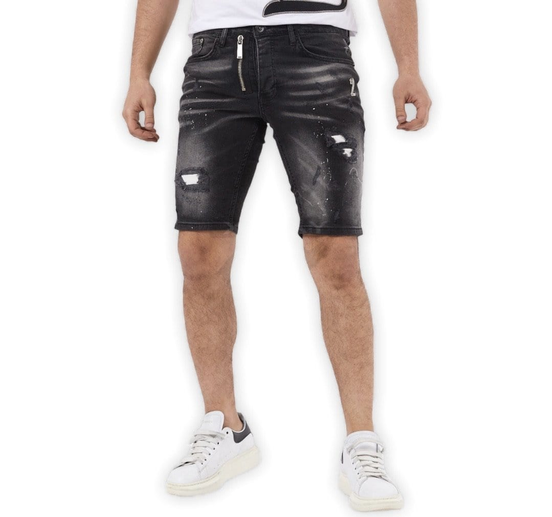 Grooveman Music Shorts XWay Black Denim Skinny Shorts Big Zipper
