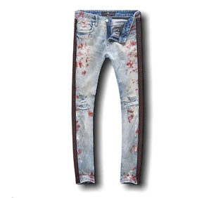 Jordan Craig Jeans Ross Vegas Striped Denim Jeans - Blue with Red Diamond Stripe