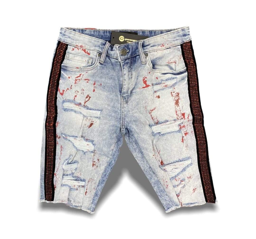 Jordan Craig Shorts Ross Vegas Striped Denim Shorts - Blue With Red Diamond Stripe