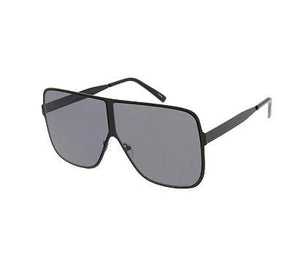 Rebel Groove Black Metal Oversized Flat Frame Sunglasses 4750