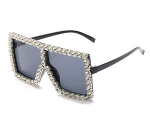 Rebel Groove Black Silver Large Oversized Square Rhinestone Sunglasses