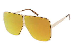 Rebel Groove Gold Unisex Metal Oversized Square Flat Frame w/ Color Mirror Lens