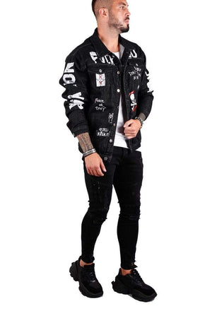 Rebel Groove Jackets Denim Black Ripped Jacket with Patches