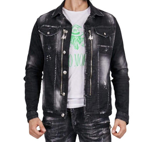 Rebel Groove Jackets Denim Black Zipper Jacket