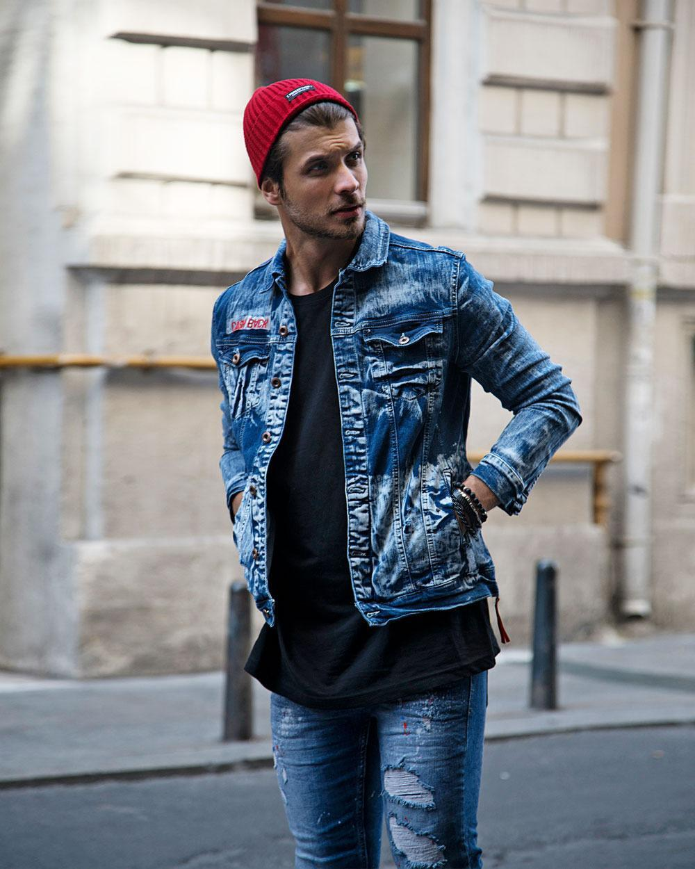 Rebel Groove Jackets Denim Blue Ripped Jacket with Patched