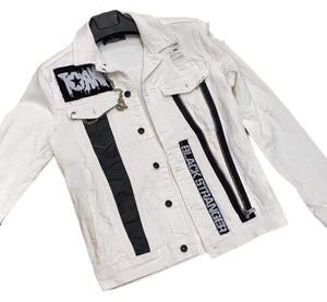 Rebel Groove Jackets Denim White Ripped Jacket