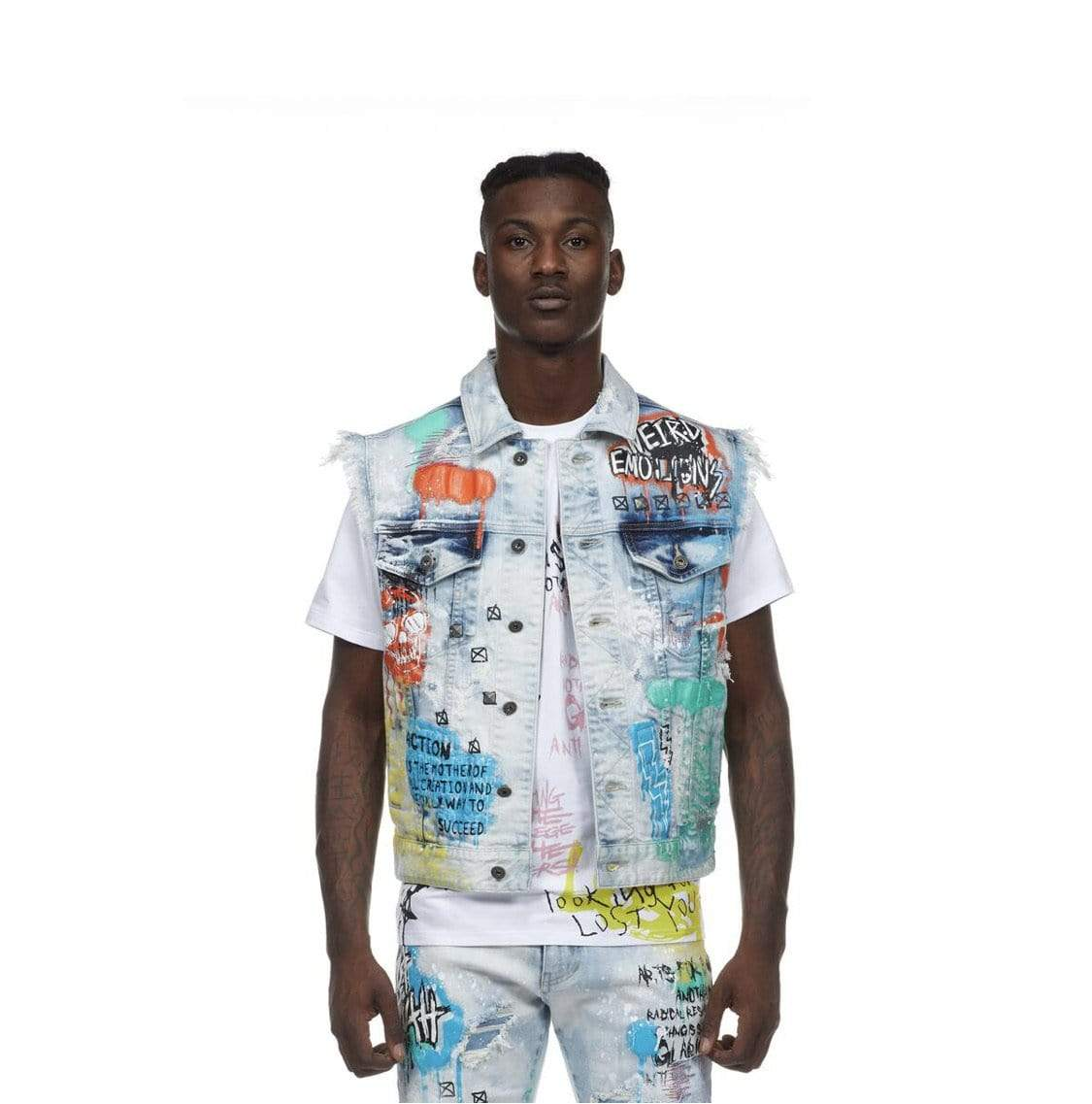 Rebel Groove Jackets Fashion Doole & Paint Splatter Denim Vest