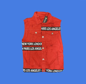 Rebel Groove Jackets London NYC Red Sleeveless Jacket