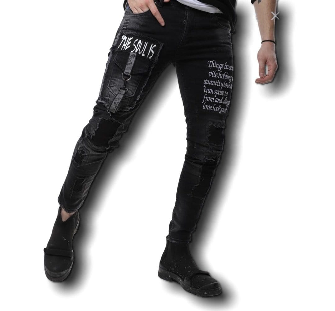 Rebel Groove Jeans Skinny Black Denim Ripped Pocket Jeans
