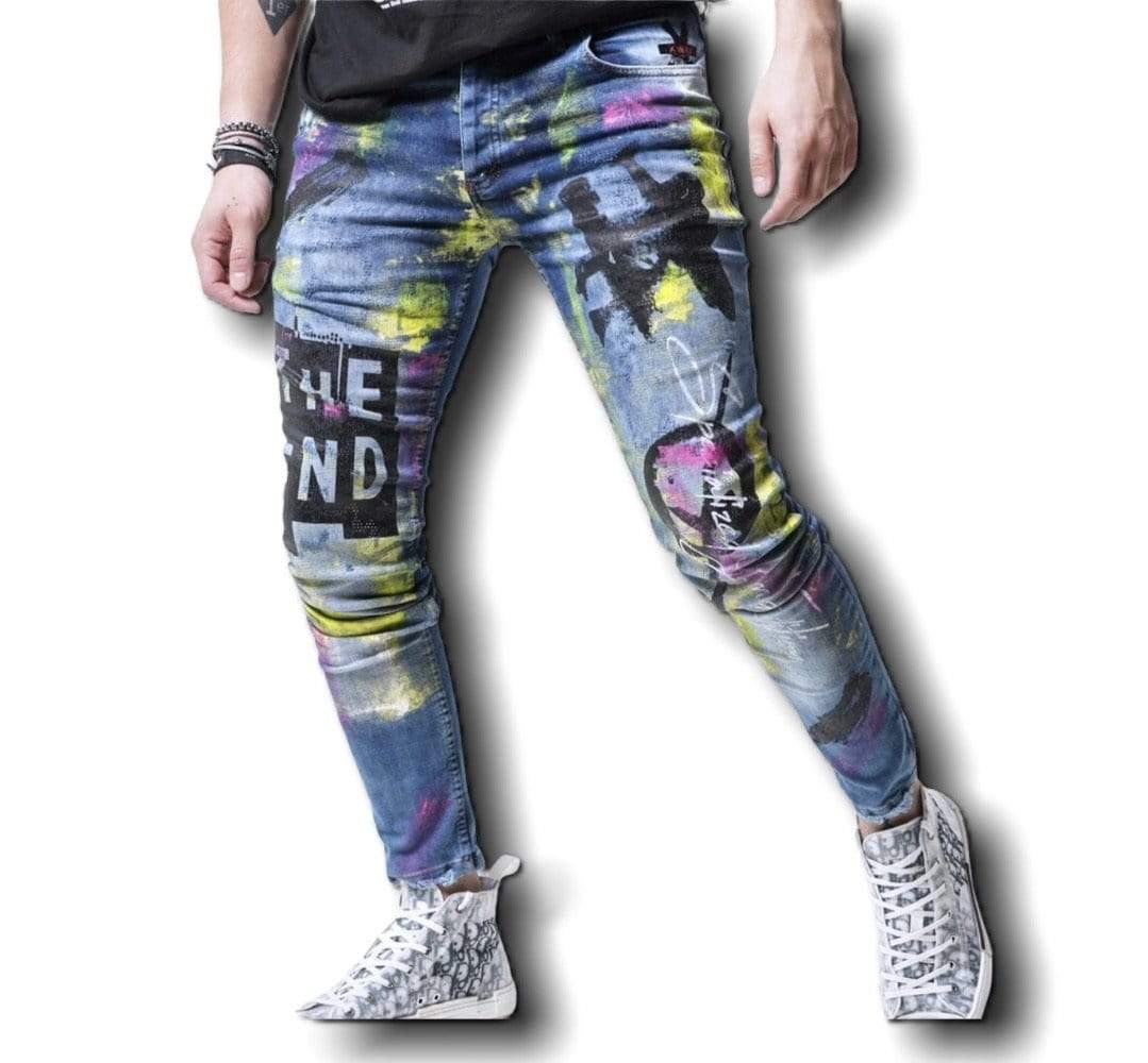 Rebel Groove Jeans Skinny Denim Ripped Neon Jeans