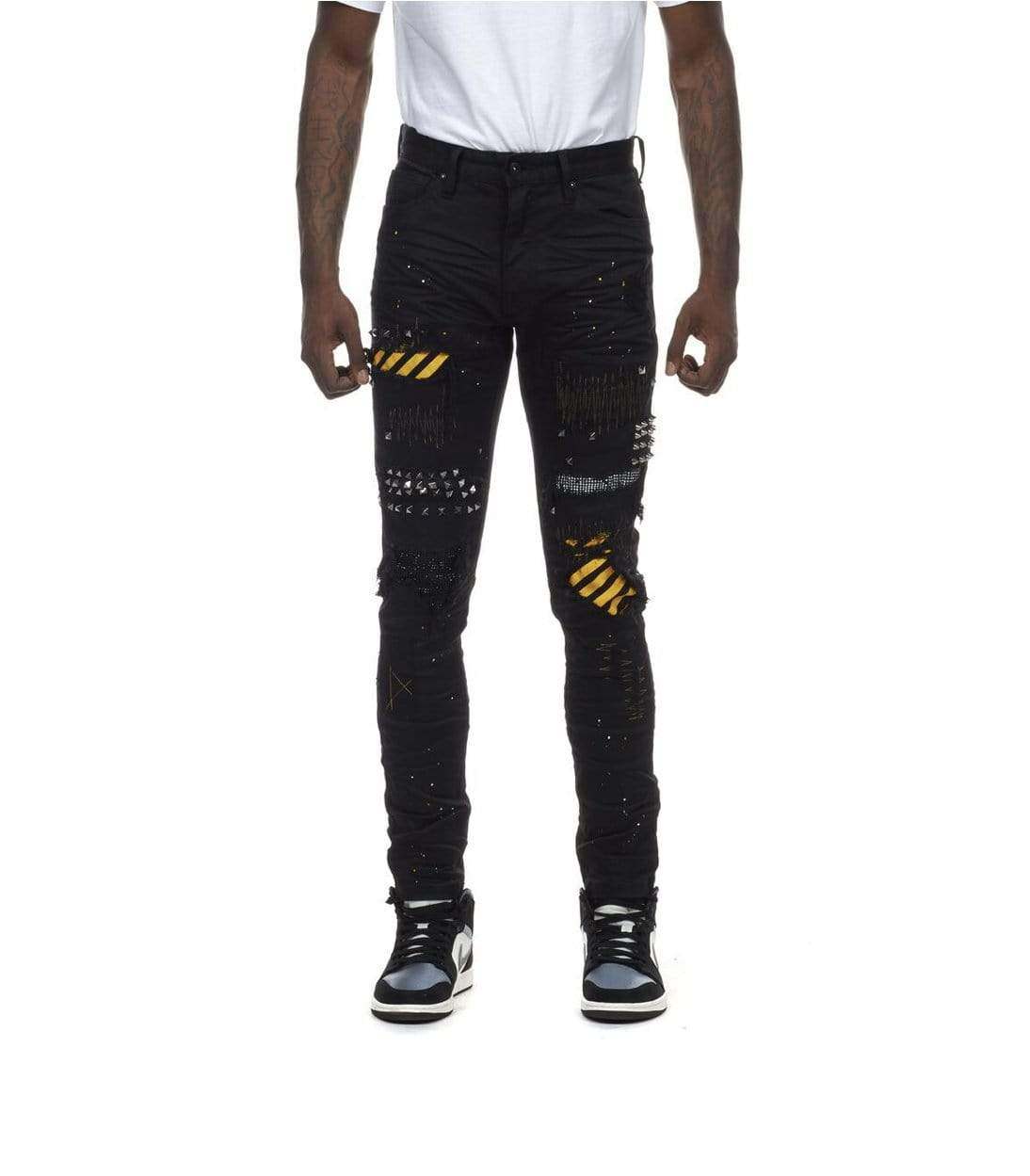 Rebel Groove Jeans Stripe Patched Denim Jeans