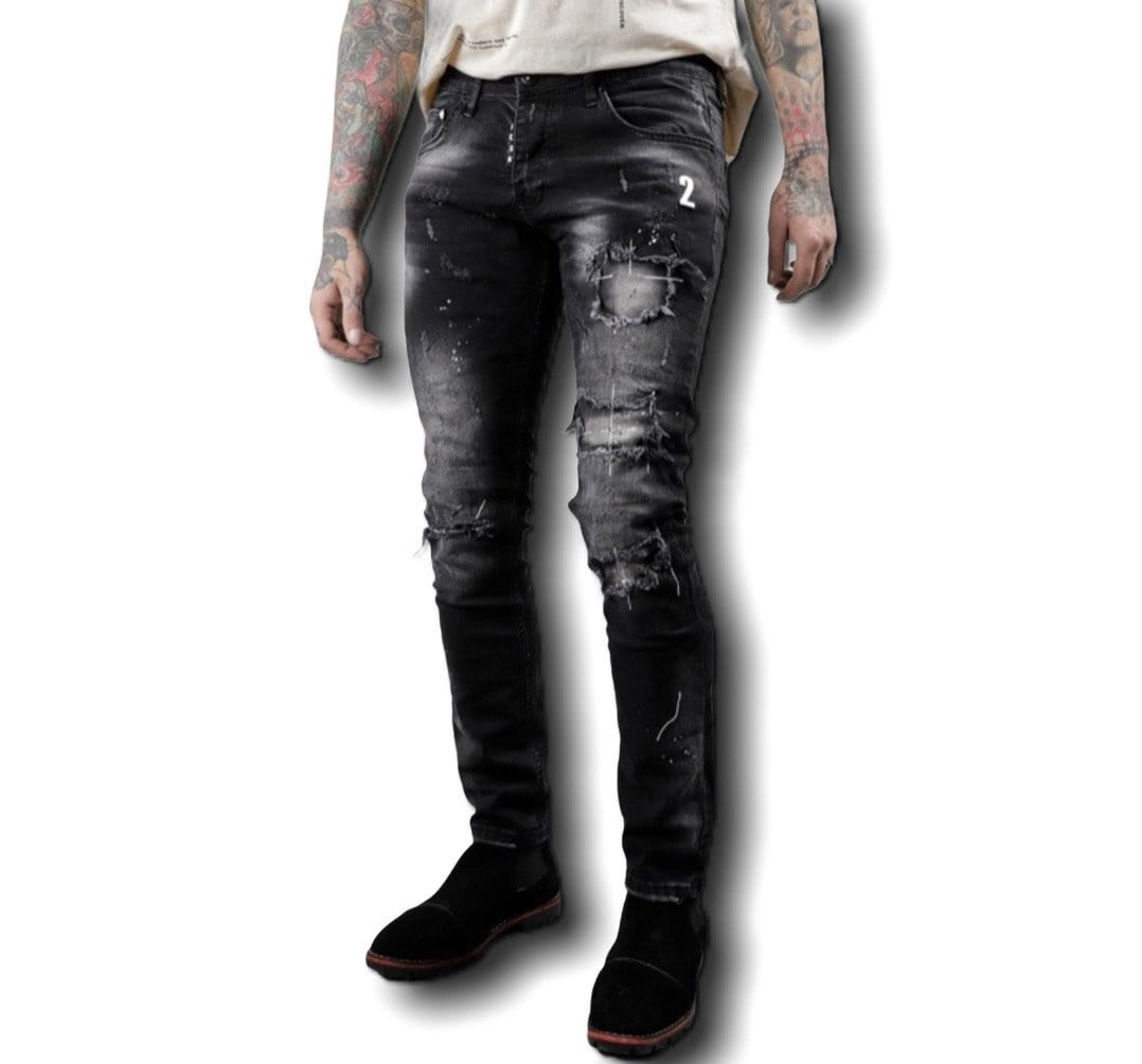 Rebel Groove Jeans Xway Black Denim Distressed Patch Paint Skinny Jeans