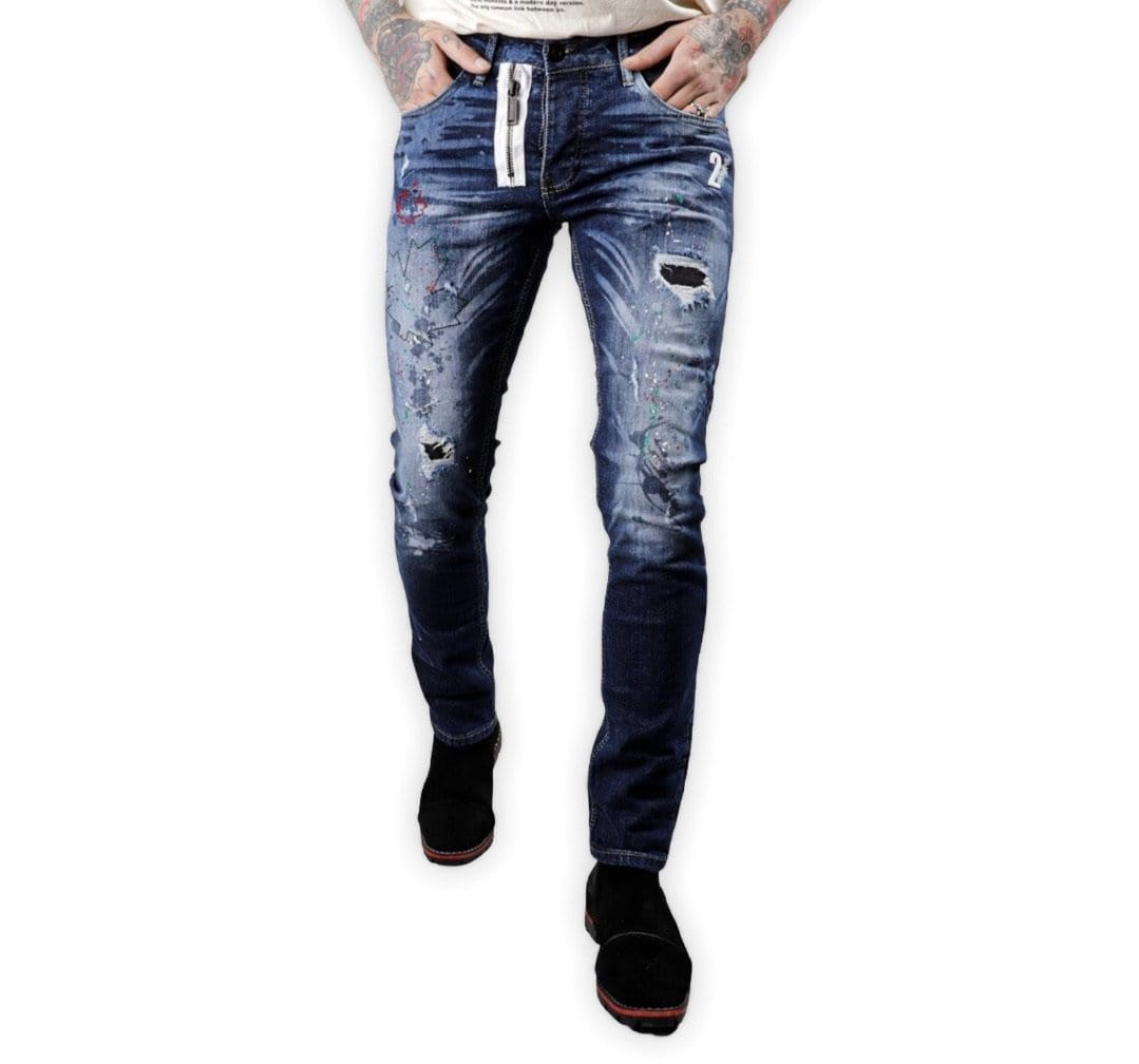 Rebel Groove Jeans Xway Blue Denim Leaf Stitch Skinny Jeans