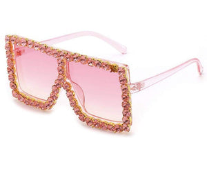 Rebel Groove Pink Large Oversized Square Rhinestone Sunglasses