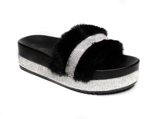 Rebel Groove Shoes 6 / Black Platform Fur Sandals