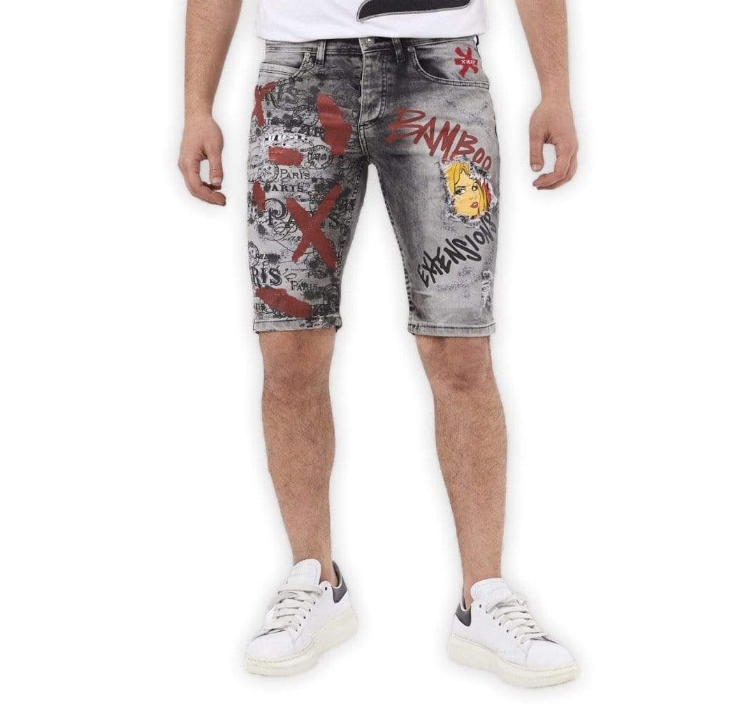 Rebel Groove Shorts Black Denim Skinny Short Girl Cartoon Graffiti