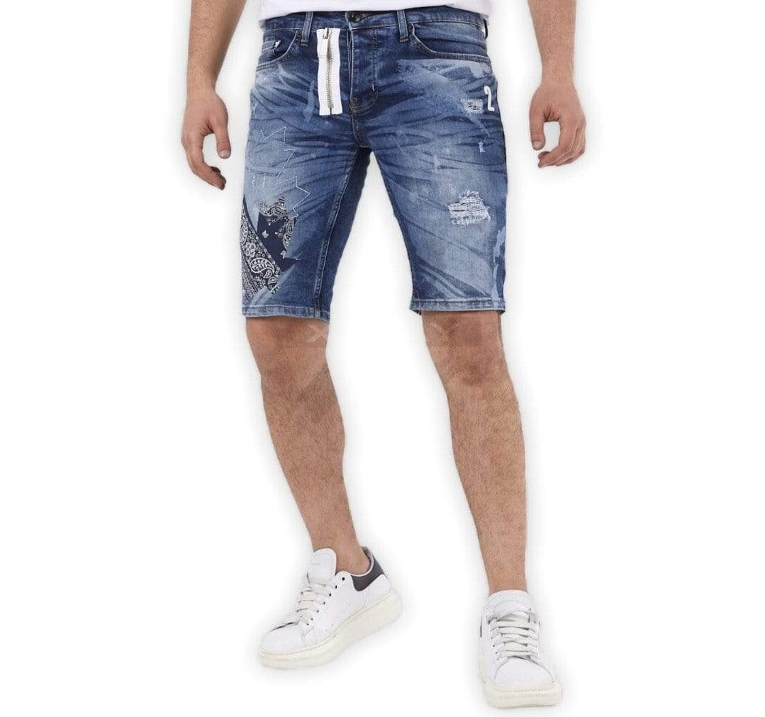 Rebel Groove Shorts Xway Blue Denim Skinny Short Big Leaf Stitch