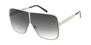 Rebel Groove Silver Metal Oversized Flat Frame Sunglasses 4750