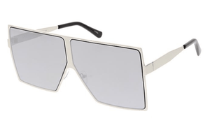 Rebel Groove Silver Unisex Metal Oversized Square Flat Frame w/ Color Mirror Lens