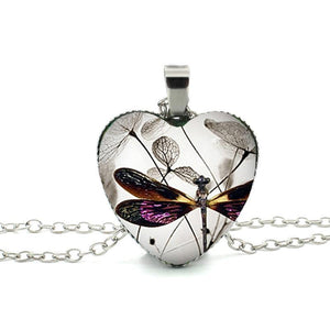 Hot Dragonfly Heart Necklace