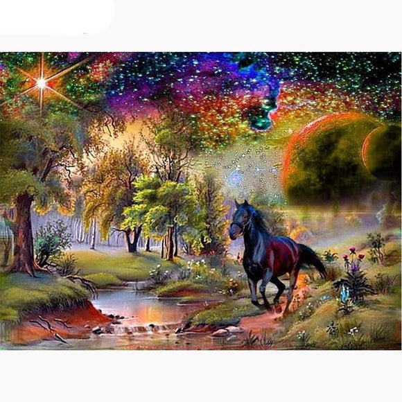 New 5D DIY Diamond Painting Black Horse Embroidery Full Square