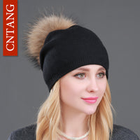 Autumn Winter Knitted Wool Hats, Pompon Beanies Fur Hat  With Natural Genuine Raccoon Fur Cap
