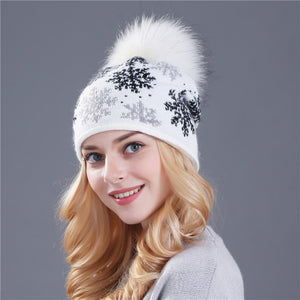 Real mink pom poms wool rabbit fur knitted hat Skullies winter hat for women /girls