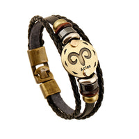 Jiayiqi Fashion Charm Jewelry Bronze Alloy 12 Zodiac Leather Bracelet Punk Wooden Beads For Women & Men Multilayer Easy Buckles