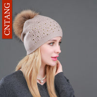 Winter Wool Women Beanies Rivets Decoration Pompon Fur Hats