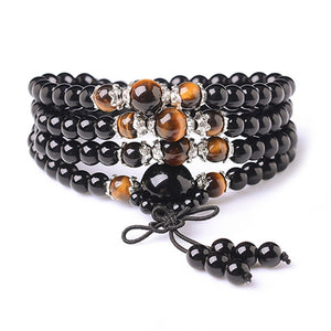 Natural Onyx Black Buddha Onyx Stone 108 Bracelet Handmade,Tiger Eye multi-turn Bracelet  For Women