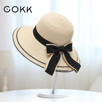 Sun Hat Big Black Bow Summer Hats For Women Foldable Straw Beach Panama Hat