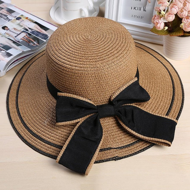 f772608cab56c Big Black Bow Summer Hats For Women Foldable Straw Beach Panama Hat Visor  Wide Brim