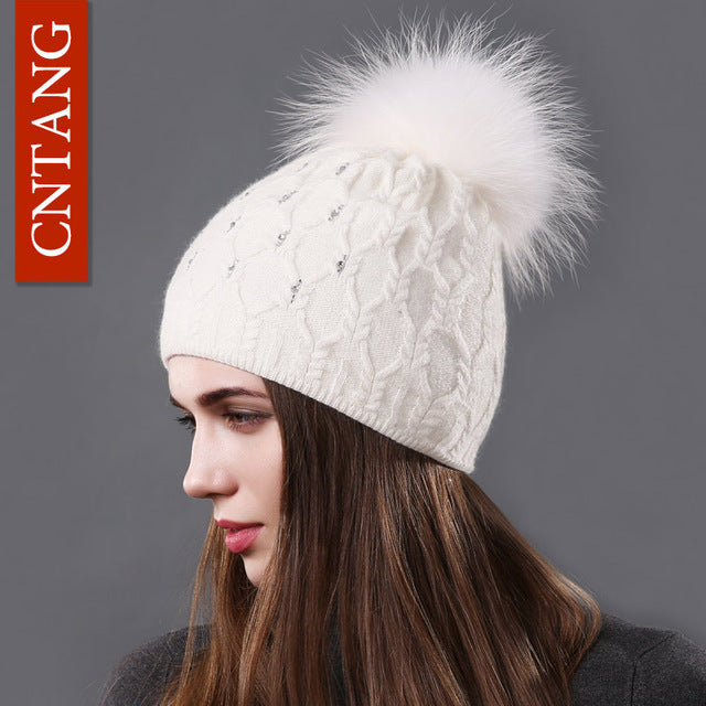 Double Deck Knitted Wool With Crystal, Big Real Raccoon Fur Cap Beanies