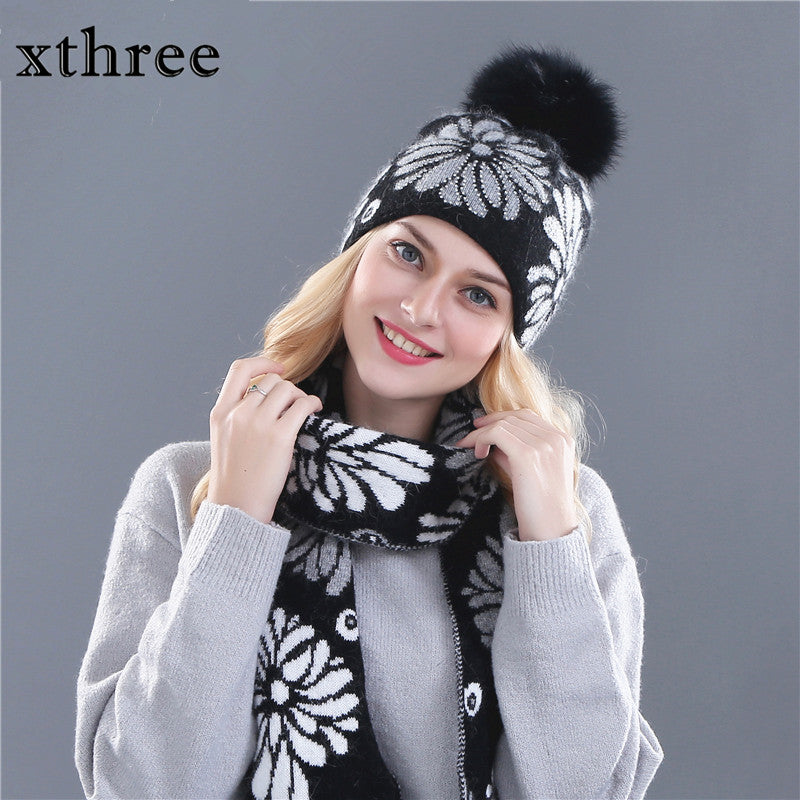 Women s winter hat scarf for girl beanie wool Knitted hat and 15 cm real  fur pom pom 77aa9928754