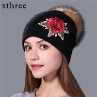 Winter wool knitted beanie cap embroidery flower with real mink fur pom pom