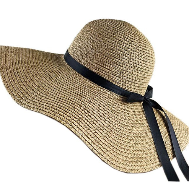 Summer Hats For Women Chapeau Femme Sun Hat Beach Panama Straw Large Wide Brim Black Ribbon Bow
