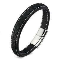 Classic 19cm,21cm Size Choose Genuine Leather Stainless Steel Magnetic Buckle Men /Women Leather Bracelet