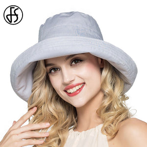 Summer Women's Cotton Sun Hats Foldable Wide Brim Casual  Bucket Hat Chapeu