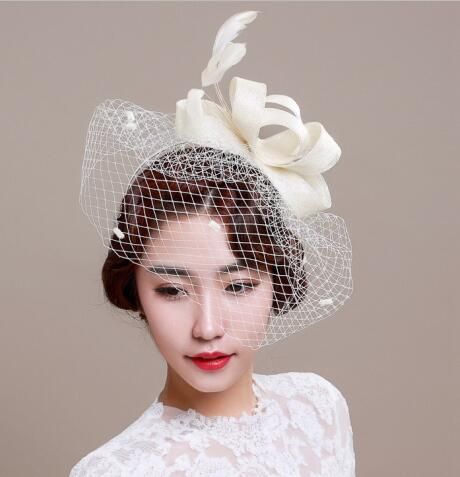 f4fedfd781f Bridal Wedding Hat For Woman Black White Party Lace Patchwork Flower  Feather With Veil Headdress