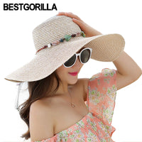 Woman's fold able colorful stone hand made straw  summer beach hat