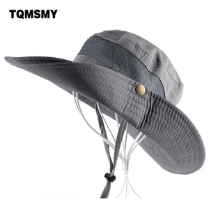 Bucket women/men Summer Fishing Cap Wide Brim  Flap with Breathable mesh