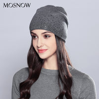 Woman Winter Hats Wool Rhinestones. Double Layer Thick Fashion Autumn Knitted Hat.