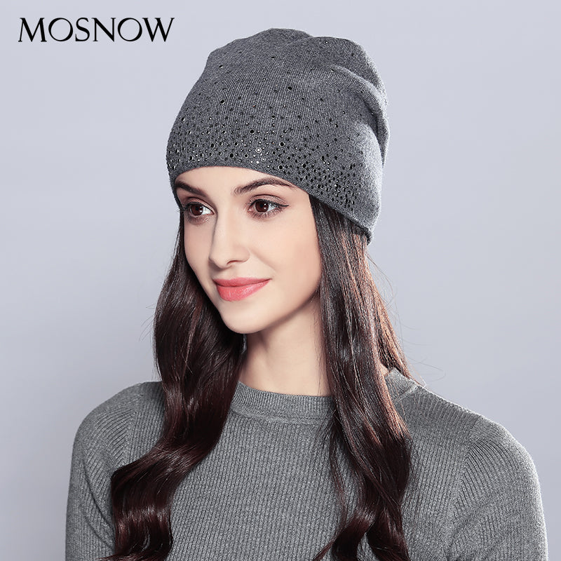 4b8be8d346f Woman Winter Hats Wool Rhinestones. Double Layer Thick Fashion Autumn  Knitted Hat.