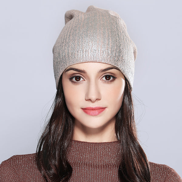 Women s Hats Shining Hot Sale Wool Knitted Autumn Winter Fashion ... 1cb899866d0